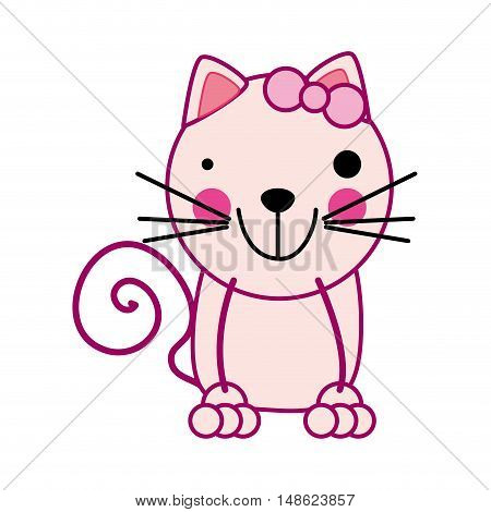 cute cat smiling feline animal cartoon. vector illustration