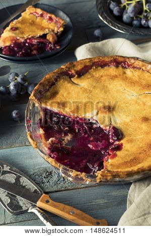 Homemade Sweet Concord Grape Pie