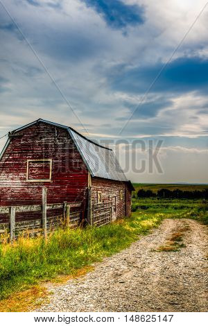 Hay barn on a Farmstead in rural Southern Alberta Canada
