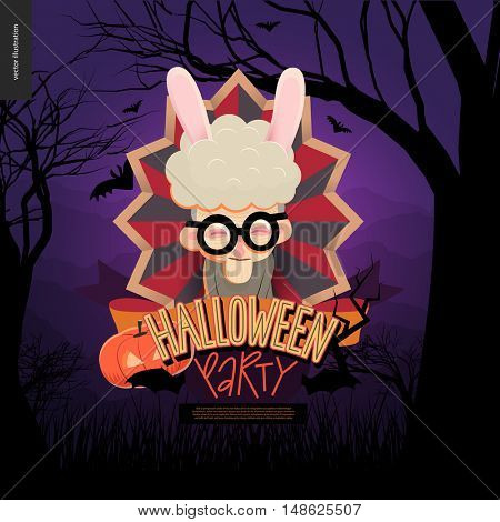 Halloween Party. Flat vectror cartoon illustrated design of an old lady wearing bunny ears in center of striped shield, bats, pumpkin jack-o-lantern, ribbon, lettering, forest landscale, trees, hills