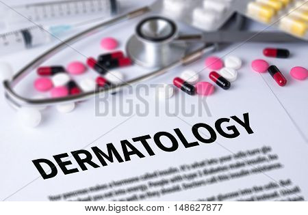DERMATOLOGY and Background of Medicaments Composition Stethoscope mix therapy drugs doctor and selectfocus poster