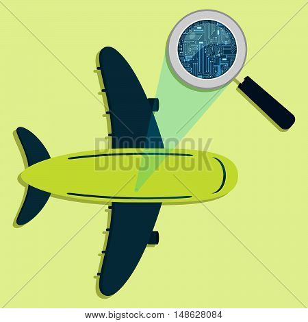 Plane, Magnifying Glass And Electronics