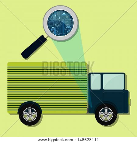 Truck, Magnifying Glass And Electronics