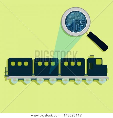 Train, Magnifying Glass And Electronics