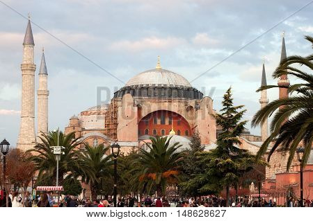 TURKEY ISTANBUL - NOVEMBER 06 2013: Autumn view of the Hagia Sophia on the Sultanahmet Square in Istanbul. Hagia Sophia was a Greek Orthodox Christian basilica later Ottoman mosque now a museum.