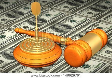 Dart On Bulls Eye Of Target Legal Gavel Concept 3D Illustration