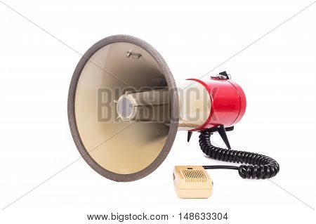 red megaphone on white background ,object phone
