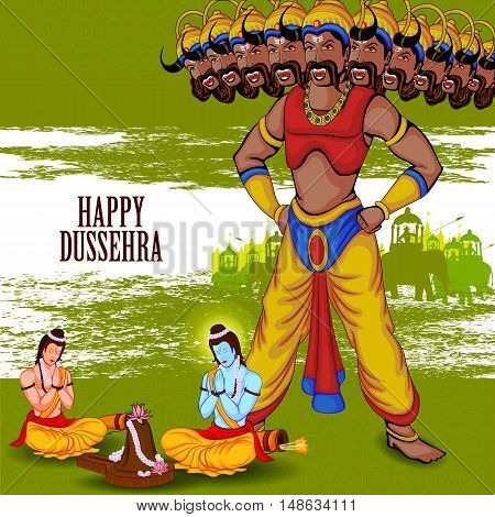 easy to edit vector illustration of Rama and Laxmana praying Shiva for killing Ravana in Happy Dussehra background showing festival of India