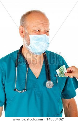 Close-up picture of a woman giving bribe money to a physician