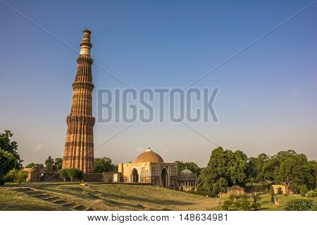 UNESCO World Heritage site, Qutb Minar, the tallest brick minaret in the world, New Delhi, India.