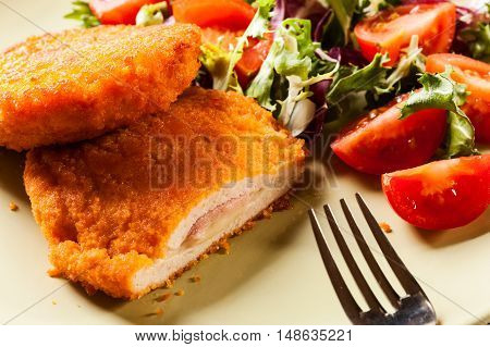 Cutlet Cordon Bleu With Salad