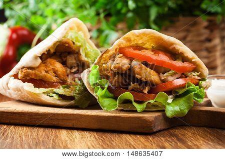 Doner Kebab - Fried Chicken Meat With Vegetables