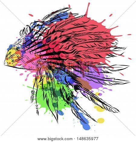 Native American indian headdress with feathers in a sketch style. multicolored card for Thanksgiving day. Vector watercolor illustration. EPS