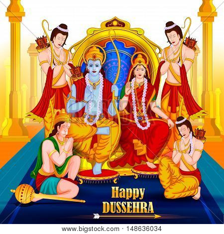 easy to edit vector illustration of Lord Rama Sita with Laxmana and Hanuman in Happy Dussehra background showing festival of India