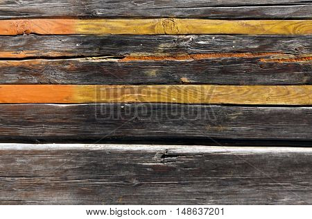 Old Log House With Orange Planks