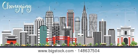 Chongqing Skyline with Gray Buildings and Blue Sky. Business Travel and Tourism Concept with Chongqing Modern Buildings. Image for Presentation Banner Placard and Web.