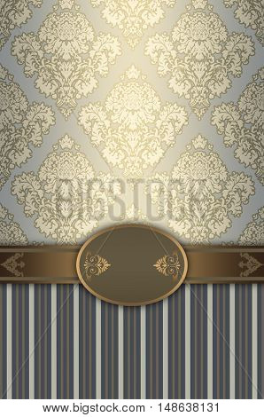 Luxury vintage background with decorative borderframe and old-fashioned patterns.
