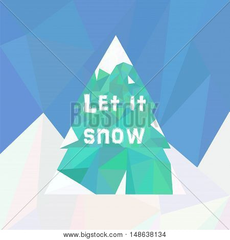 Fur tree covered in snow in low poly style. Vector illustration for new year christmas winter season greeting card.