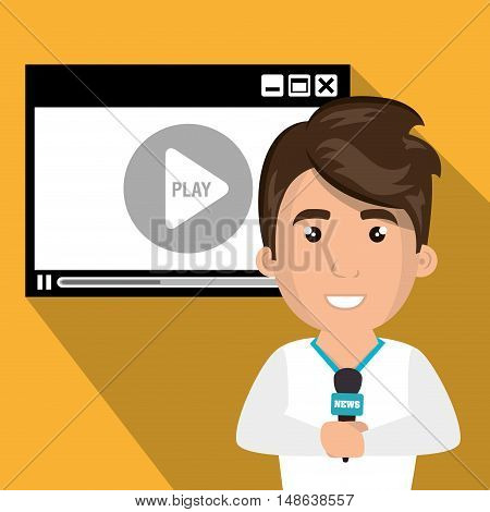 avatar journalist man smiling with news microphone and video medio player. vector illustration