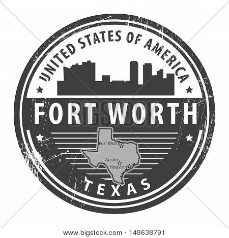 Grunge rubber stamp with name of Texas, Fort Worth, vector illustration