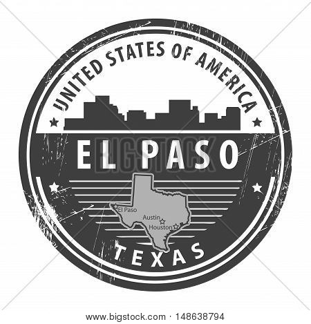 Grunge rubber stamp with name of Texas, El Paso, vector illustration