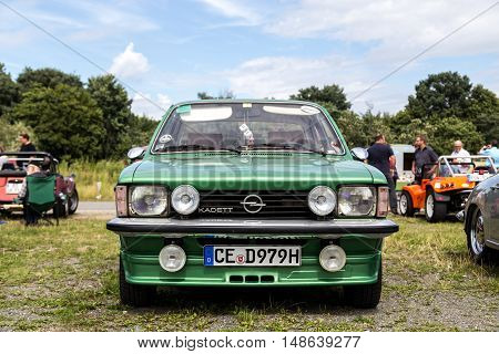 Celle, Germany - August 7, 2016: Front view of an Opel Kadett at the annual Kaefer Meeting