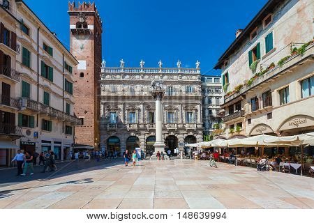 VERONA, ITALY- September 08, 2016: View on Piazza delle Erbe is a square in Verona, northern Italy. It was once the town's forum during the time of the Roman Empire.