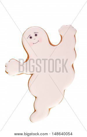 Funny beautiful delicious ginger biscuits Halloween in the form of a ghost, isolated on white