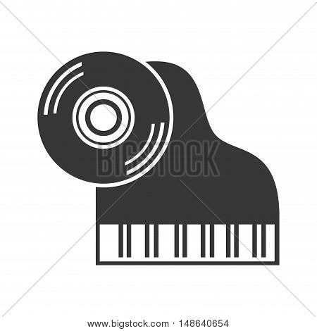 classic musical piano instrument with longplay vynil icon. vector illustration