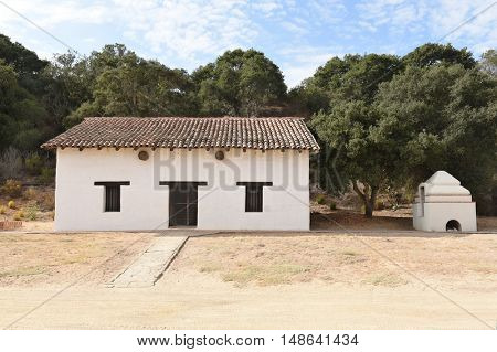 LOMPOC, CALIFORNIA - SEPTEMBER 21, 2016: Pottery Shop at Mission La Purisima. La Purisima was the eleventh mission of the twenty-one Spanish Missions and most restored to date.