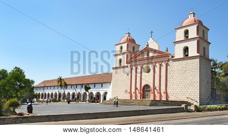 SANTA BARBARA, CALIFORNIA - SEPTEMBER 21, 2016: Mission Santa Barbara. The 10th mission was founded on 12/4/1786, the feast day of Saint Barbara.