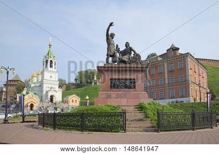 NIZHNY NOVGOROD, RUSSIA - AUGUST 27, 2015: Monument to Minin and Pozharsky on the square of National unity. Historical landmark of the city Nizhny Novgorod, Russia