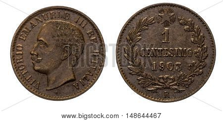 One 1 cent Lire Copper Coin 1903 Value Umberto I Kingdom of Italy, Mint of Rome, Umberto I Head of Front, Value laurel on Back