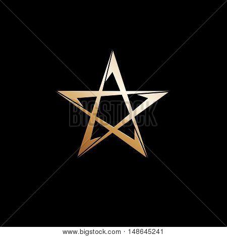 Vector sign golden star on black background