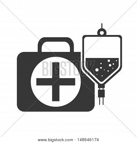 kit medical health box with iv bag medicine icon. vector illustration
