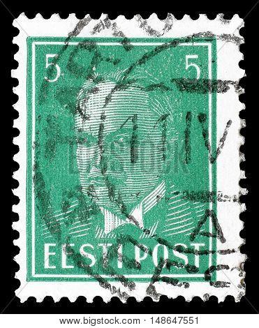 ESTONIA - CIRCA 1936 : Cancelled postage stamp printed by Estonia, that shows President Konstantin Päts.