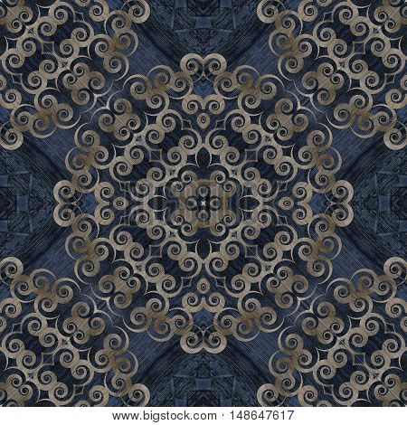 Seamless background pattern abstract figures and wooden texture for scrapbook wall table texture veneer and parquet. Mirror reflection Collage. Kaleidoscope montage for flooring parquet floor