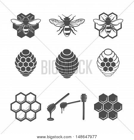 Vintage honey and design elements, apiary, bee, honey honeycomb