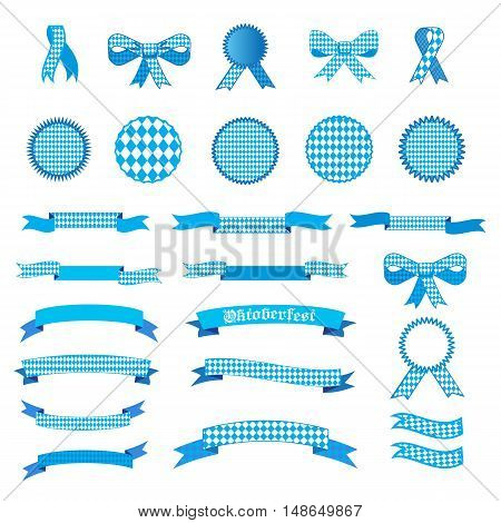 Oktoberfest ribbon and banners, bow tie and tied ribbon collection set. Ribbons and labels isolated on white background. October festival traditional symbols set. Vector Illustration with Bavarian flag blue pattern.