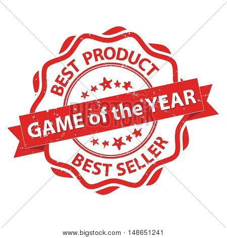 Game of the Year, Best Product, Best seller - grunge red label / stamp