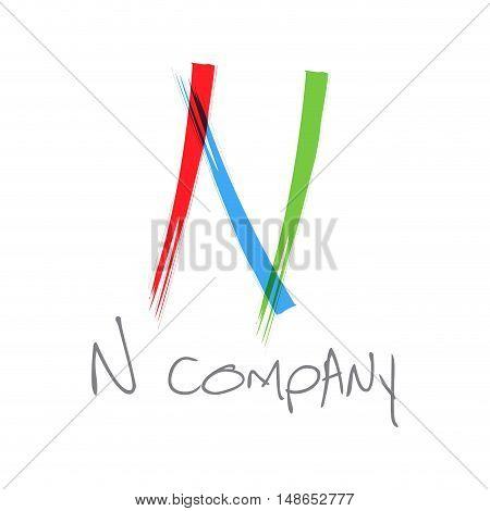 Vector initial letter N scrawled colored text