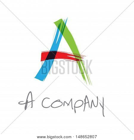 Vector initial letter A scrawled colored text