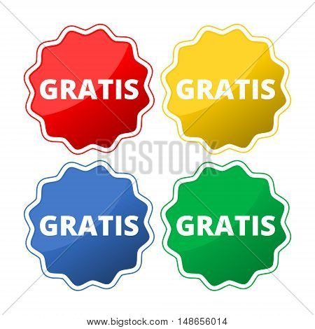 Gratis button icon set on white background