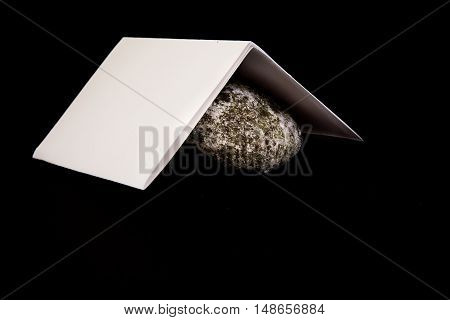 Paper Covers Rock Game Isolated Black Background Sheet Rock