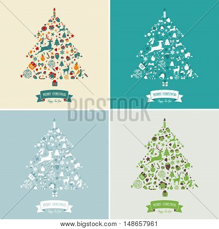 Christmas tree shape design. Merry Christmas card decoration. Happy New Year design elements. Vintage green graphics of deer, bell, snowflake, ribbon, bow, tree, snowman. Vector icons set.