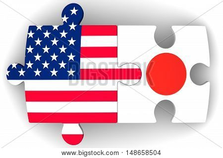 Cooperation between the United States of America and Japan. Puzzles with flags of the United States of America and Japan on a white surface. The concept of coincidence of interests in geopolitics. Isolated. 3D Illustration