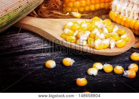 corncob and corn on the cob on the wooden spoon