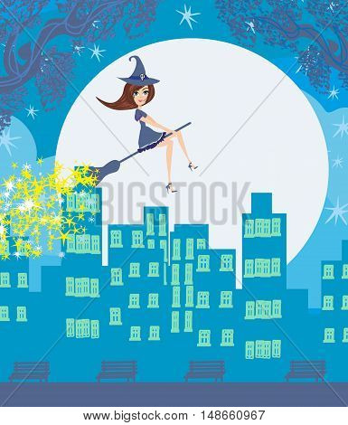 Witch flying over the city , vector illustration