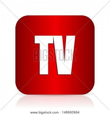 tv red square modern design icon