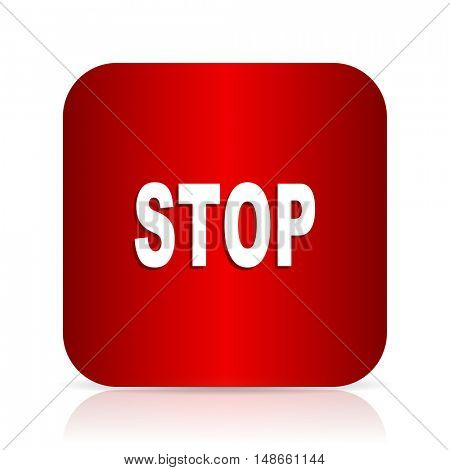 stop red square modern design icon